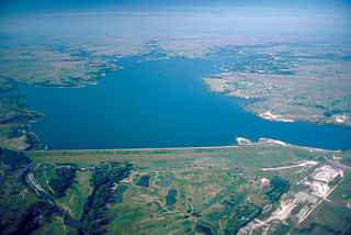 Benbrook Lake reservoir on the Clear Fork of the Trinity River in Tarrant County, Texas