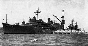 USS Currituck (AV-7) with LST-762 and USCG ships in Vietnam 1965.jpg