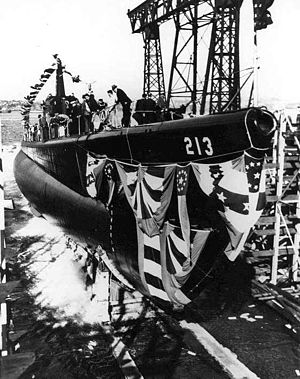 Launching of the Greenling (SS-213) at the Electric Boat Co., Groton, CT., 20 September 1941.