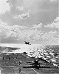 USS Hornet (CV-12) landing F6F Hellcat fighters during the Formosa Air Battle, 12 October 1944.jpg