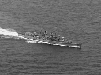 USS Juneau (CL-52) - Juneau underway during the Battle of the Santa Cruz Islands, October 26, 1942.