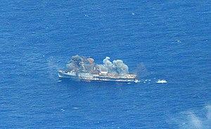 USS Ogden (LPD-5) - Ogden being sunk in July 2014