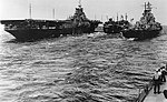 USS Tappahannock (AO-43) refuels USS Bon Homme Richard (CV-31) and USS Missouri (BB-63) in July 1945.jpg