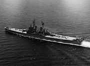 USS Worcester (CL-144) underway on 31 May 1952 (NH 91831)