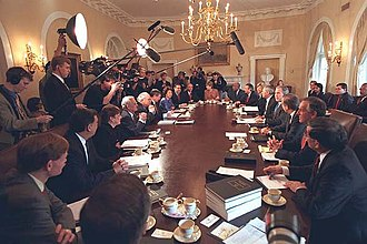 Timeline of the George W. Bush presidency (2001) - President Bush meeting with his administration's cabinet on June 9, 2001.