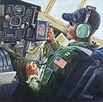 """US Coast Guard Art Program 2014 Collection, """"HC-130H Hercules Pilot"""" 140613-G-ZZ999-008.jpg"""