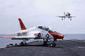 US Navy 030716-N-4308O-035 A T-45C Goshawk assigned to Fixed Wing Training Squadron Seven (VT-7,) is recovered on the flight deck of USS Harry S. Truman (CVN 75).jpg