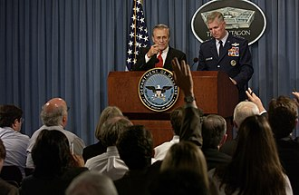 The Unknown Known - Rumsfeld during a Pentagon news briefing.