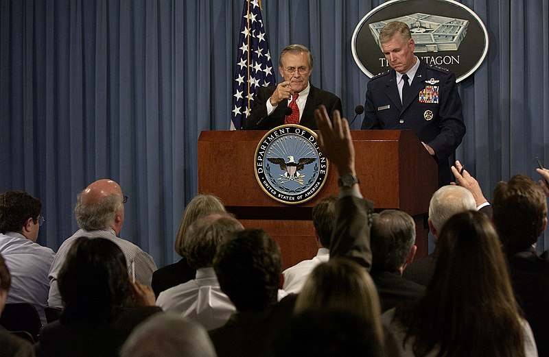 US Navy 031002-F-2828D-227 Secretary of Defense, Donald H. Rumsfeld responds to a reporter%27s question during a Pentagon press briefing.jpg
