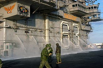 Board of Inspection and Survey - Inspectors check USS Kitty Hawk{{'}}s (CV-63) counter-measure wash-down system.