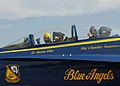 US Navy 040713-N-7559C-022 University of Florida Head Football Coach Ron Zook, right, gives a smile and a thumbs up as the Blue Angels F-A-18 Hornet prepares for take-off, during a scheduled familiarization flight.jpg