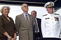 US Navy 041015-N-7293M-136 Mrs. Dorothy England and SECNAV stand with Rear Adm. Charles D. Wurster, during the commissioning ceremony for the new Coast Guard cutter Sequoia (WLB 215).jpg