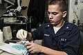 US Navy 050101-N-4166B-041 Hospital Corpsman 3rd Class Kevin Herbert packs Doxycycline, a Malaria medication.jpg