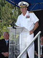 US Navy 070704-N-6402M-002 Commander, Naval Special Warfare Command, Rear Adm. Joseph D. Kernan addresses 3000 attendees during ceremonies conducted at the Danny Dietz Memorial dedication.jpg