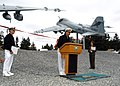 US Navy 070920-N-9860Y-003 Capt. Thomas Tack, commodore of Electronic Attack Wing Pacific, speaks at the ribbon-cutting ceremony for the Naval Air Station.jpg