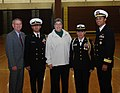 US Navy 071115-N-3090M-001 New London Deputy Mayor Kevin Cavanaugh, JROTC Executive Officer Muhammad Tahir, New London Mayor Margaret Mary Curtin, and JROTC Commanding Officer Vannessa Blanco, pose with Submarine Group 2's Comm.jpg