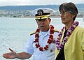 US Navy 090723-N-5476H-070 Rear Adm. Douglas McAneny, commander, Submarine Force U.S. Pacific Fleet, discusses the various aspects of the Virginia-class attack submarine USS Hawaii (SSN 776) with Hawaii Gov. Linda Lingle.jpg