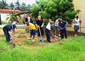 US Navy 100422-N-9301W-497 Sailors assigned to the guided-missile frigate USS Klakring (FFG 42) participate with sailors from the Brazilian navy in a community service project at a local school in Fortaleza, Brazil, Klakring is.jpg