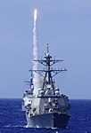 US Navy 100711-N-7498L-450 USS Benfold (DDG 65) maneuvers ahead of USS Chosin (CG 65) as it fires a surface-to-air missile off the coast of Hawaii during Rim of the Pacific (RIMPAC) 2010 exercises.jpg