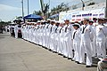 US Navy 101113-M-2581P-050 Sailors stand at parade rest during the commissioning ceremony of USS Jason Dunham (DDG 109).jpg