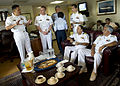 US Navy 110430-N-RM525-074 Commodore Brian Nickerson, left, mission commander for Continuing Promise 2011, talks with Peruvian navy Rear Adm. Ricar.jpg
