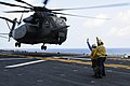 US Navy 110828-N-WS082-005 Aviation Boatswain's Mates launch an MH-53 Sea Dragon helicopter assigned to Helicopter Mine Countermeasure Squadron (HM.jpg