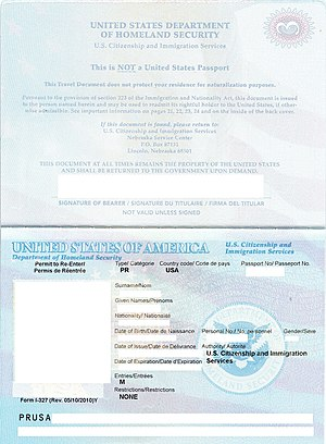 U.S. Re-entry Permit - Biographic data page of the re-entry permit. This is revised on May 10, 2010.