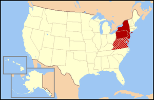 States in solid red form the official Census Division, while those shown in red stripes are often categorized as Mid-Atlantic and/or Southern states.