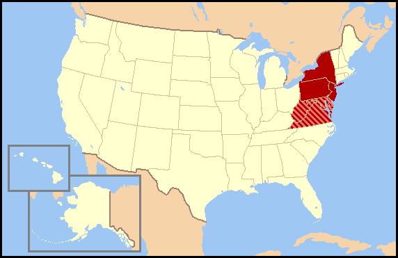 Các tiểu bang màu đỏ hợp thành phân vùng điều tra dân số chính thức trong lúc các tiểu bang khác màu đỏ sọc thường được liệt kê như các tiểu bang Trung-Đại Tây Dương hay các tiểu bang miền Nam.