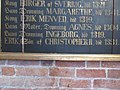 Udsnit af tavle fra Skt. Bendts Kirke med navne på begravede kongelige. Det nederste navn på tavlen, Erik Christoffersen en dansk medkonge, er sat i fokus.jpg