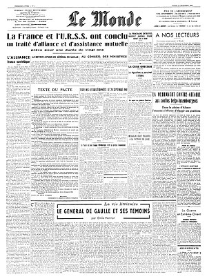 Le Monde - First issue on 18 December 1944