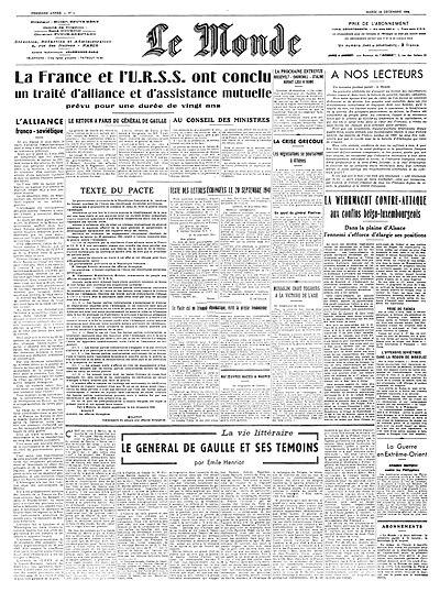 Une du Monde du 19 décembre 1944.