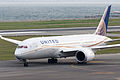 United Airlines, UA34, Boeing 787-8 Dreamliner, N29907, Departed to San Francisco, Kansai Airport (16577222673).jpg