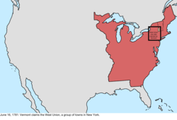 Map of the change to the international disputes involving the United States in central North America on June 16, 1781