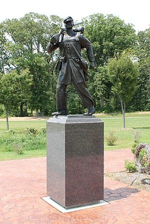 United States Colored Troops Memorial Statue (Lexington Park, Maryland) - This statue is the centerpiece of the memorial. It shows a USCT soldier in full battle dress, as he would look marching between engagements. The service of USCT soldiers and sailors was vital to the success of Union forces in the war and would ultimately contribute to the liberation of all enslaved peoples of St. Mary's County and the United States as a whole. It would also lead to the preservation of the Union and the extension of its founding principles to all of its citizens.Photo by Potomac Sun Photography