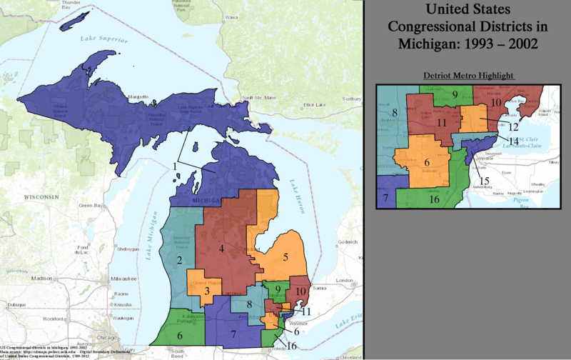 United States Congressional Districts in Michigan, 1993 - 2002.tif