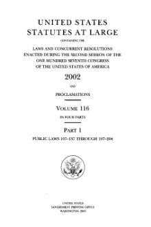 United States Statutes at Large Volume 116 Part 1.djvu