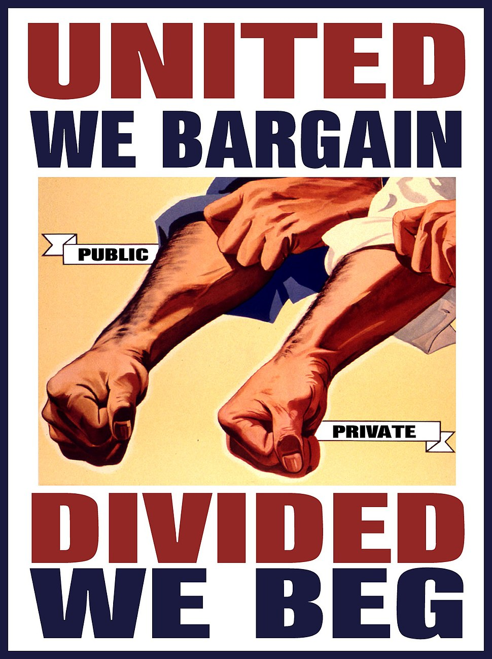 United We Bargain Divided We Beg Two Forearms in Unison By DonkeyHotey