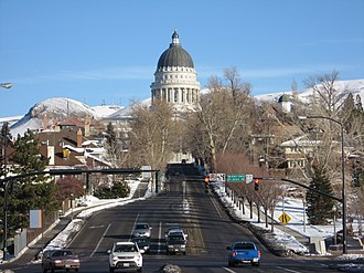 U.S. Route 89 in Utah - State Street approaching the Utah State Capitol; northbound US-89 turned left here until 2007