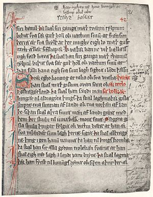 Västgötalagen - A page of the late 13th century law Äldre Västgötalagen