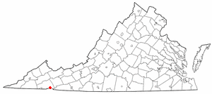 Damascus, Virginia - Image: VA Map doton Damascus