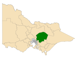 Electoral district of Eildon - Location of Eildon (dark green) in Victoria