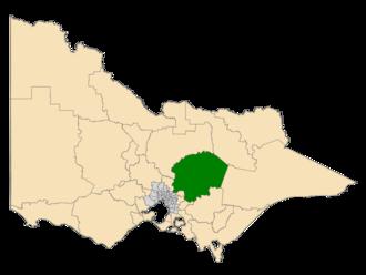 Electoral district of Eildon - Location of Eildon (dark green) in Victoria