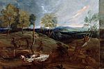 Van Dyck, Sir Anthony - Sunset Landscape with a Shepherd and his Flock - Google Art Project.jpg