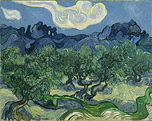 A squarish painting of green winding olive trees; with rolling blue hills in the background and white clouds in the blue sky above.