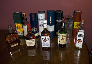 Various Whiskies. From left: Woodford Reserve ...