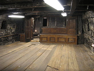 Cabin (ship) - Interior of the great cabin of the 17th century Swedish warship Vasa.