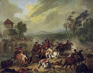 Jan Peeter Verdussen - Cavalry battle at a bridge