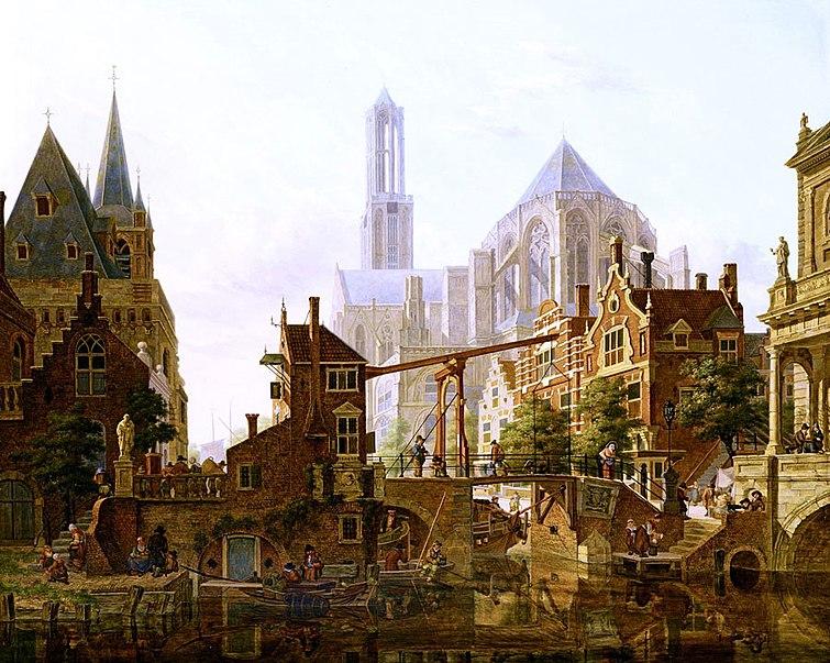 File:Verheijen, Een levendig stadstafereel, Utrecht.jpg