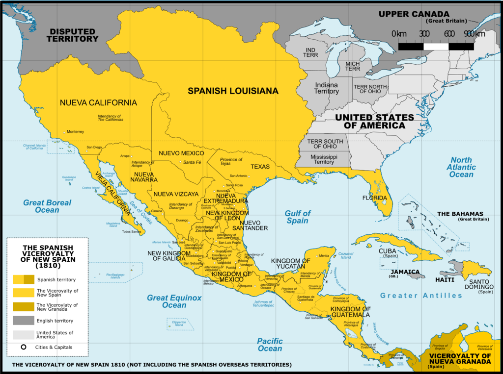 Detailed Map Of Spain In English.File Viceroyalty Of The New Spain 1800 Without Philippines Png